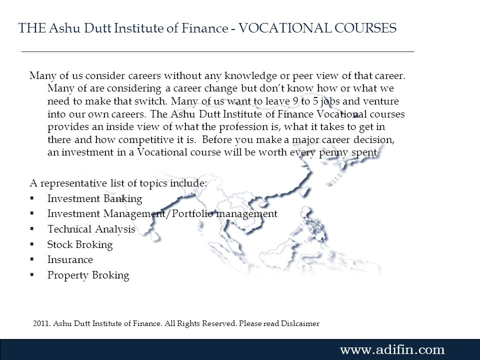 THE Ashu Dutt Institute of Finance - VOCATIONAL COURSES