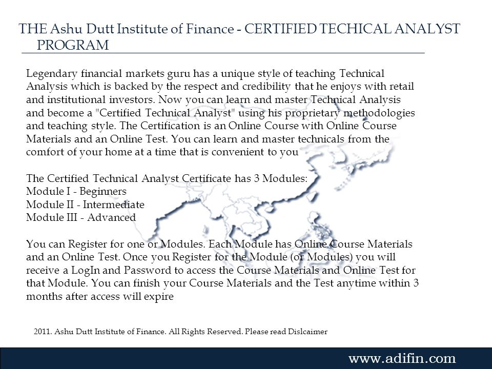 THE Ashu Dutt Institute of Finance - CERTIFIED TECHICAL ANALYST PROGRAM