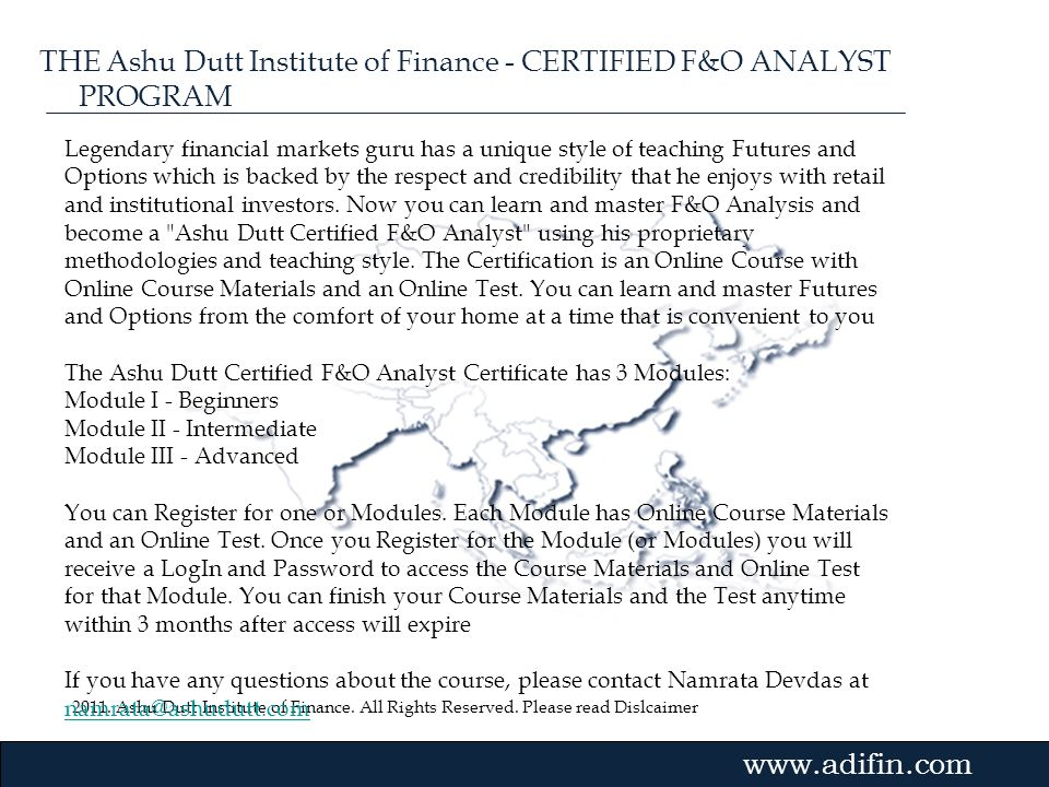 THE Ashu Dutt Institute of Finance - CERTIFIED F&O ANALYST PROGRAM