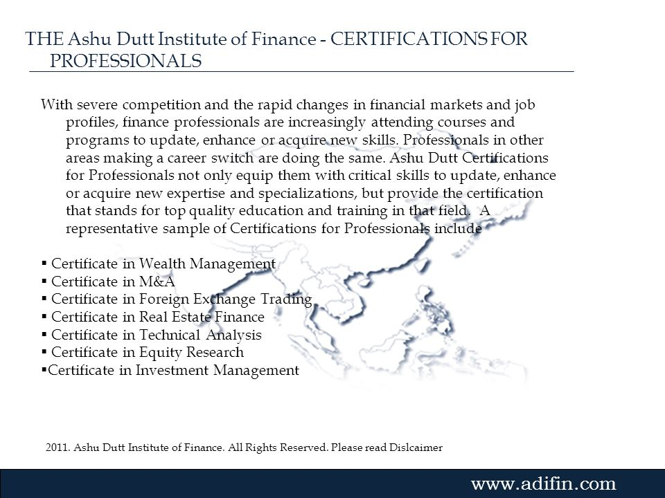 THE Ashu Dutt Institute of Finance - CERTIFICATIONS FOR PROFESSIONALS