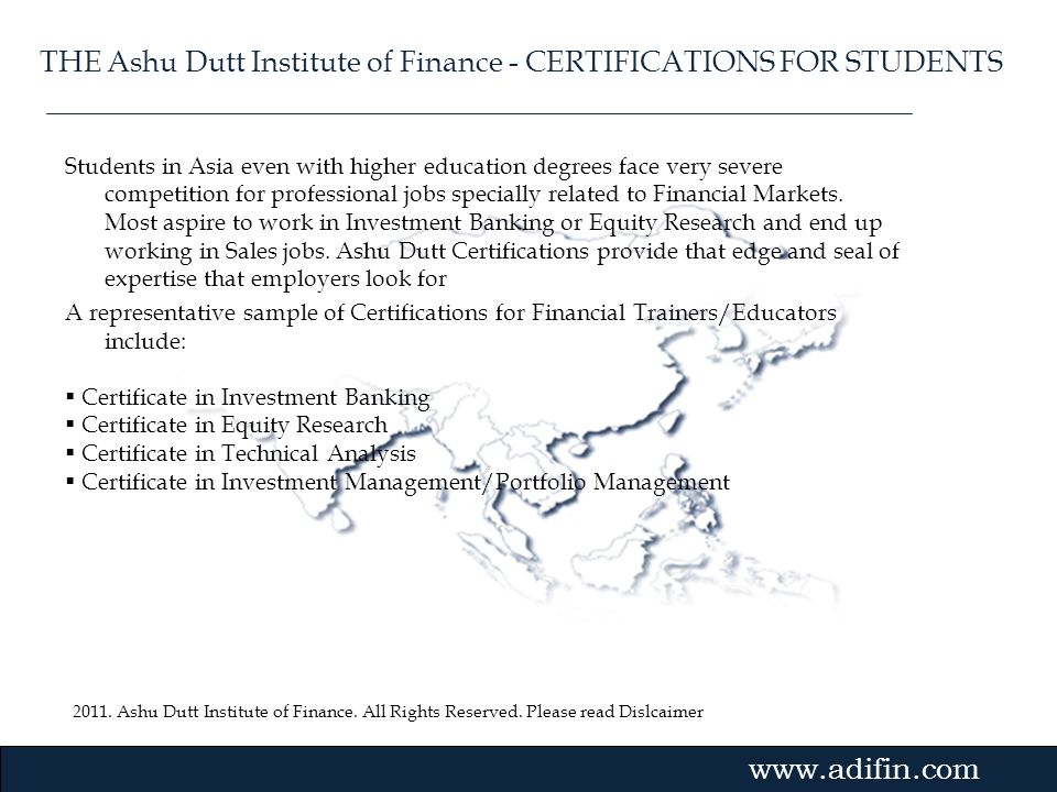 THE Ashu Dutt Institute of Finance - CERTIFICATIONS FOR STUDENTS