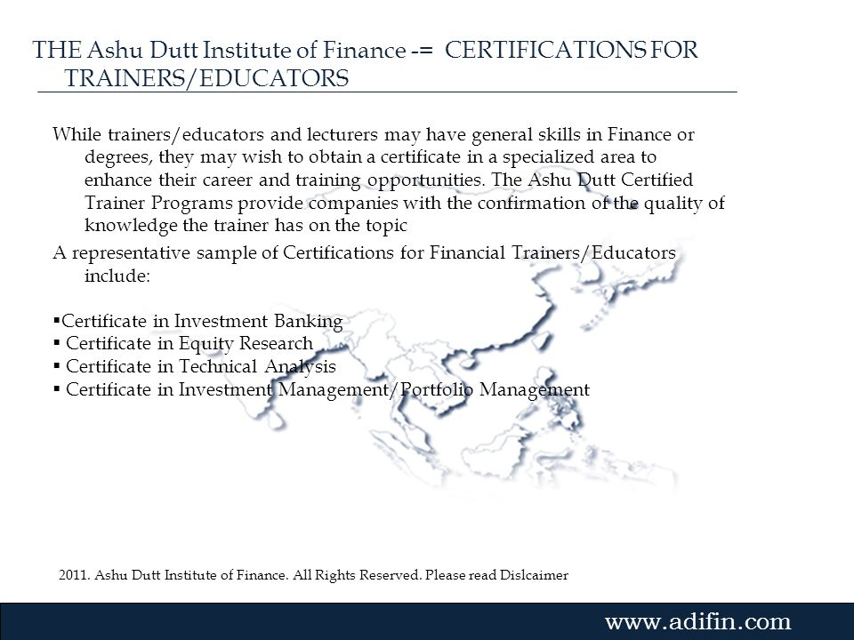 THE Ashu Dutt Institute of Finance -= CERTIFICATIONS FOR TRAINERS/EDUCATORS