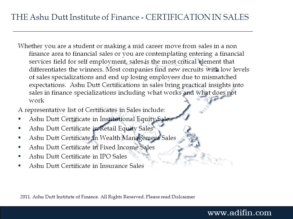 THE Ashu Dutt Institute of Finance - CERTIFICATION IN SALES