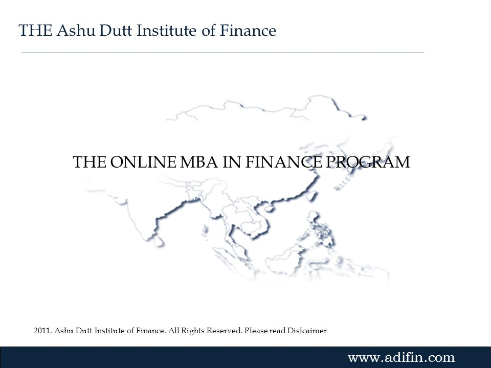 THE ONLINE MBA IN FINANCE PROGRAM