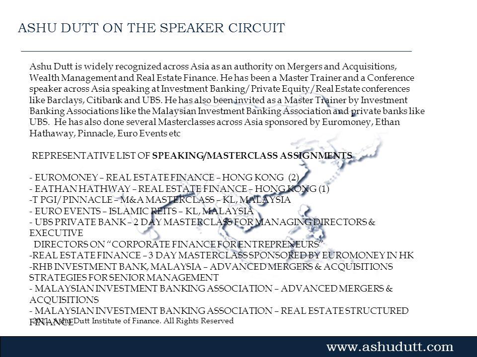 ASHU DUTT ON THE SPEAKER CIRCUIT