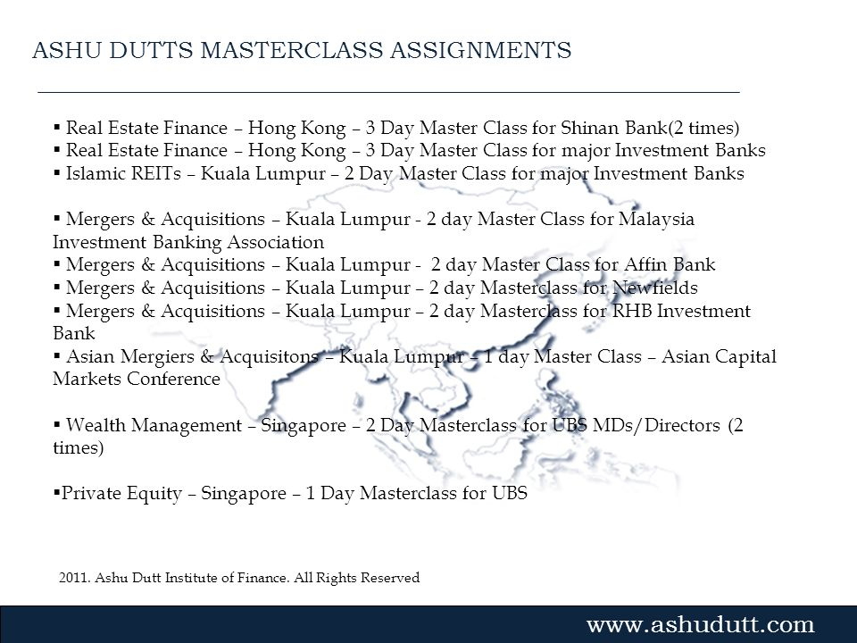 ASHU DUTTS MASTERCLASS ASSIGNMENTS