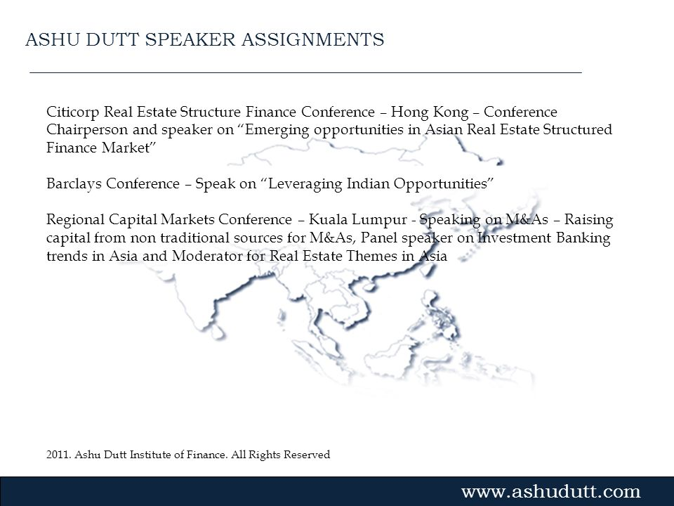 ASHU DUTT SPEAKER ASSIGNMENTS
