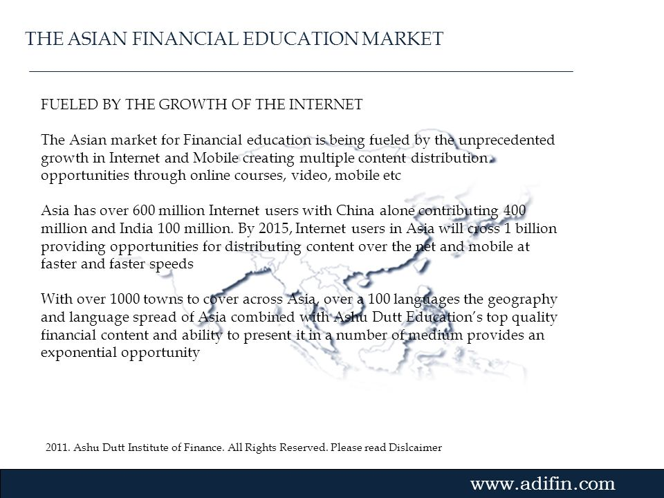 THE ASIAN FINANCIAL EDUCATION MARKET