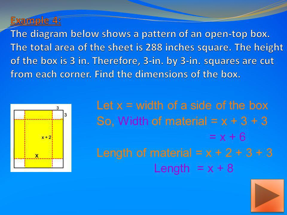 So, Width of material = x + 3 + 3 = x + 6