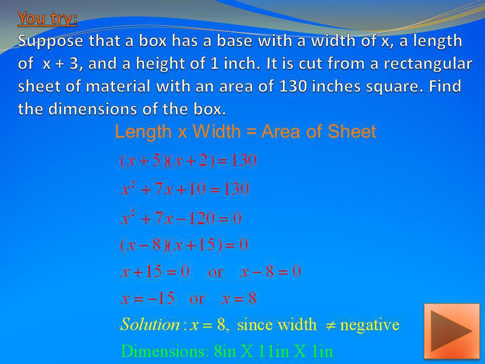 Length x Width = Area of Sheet