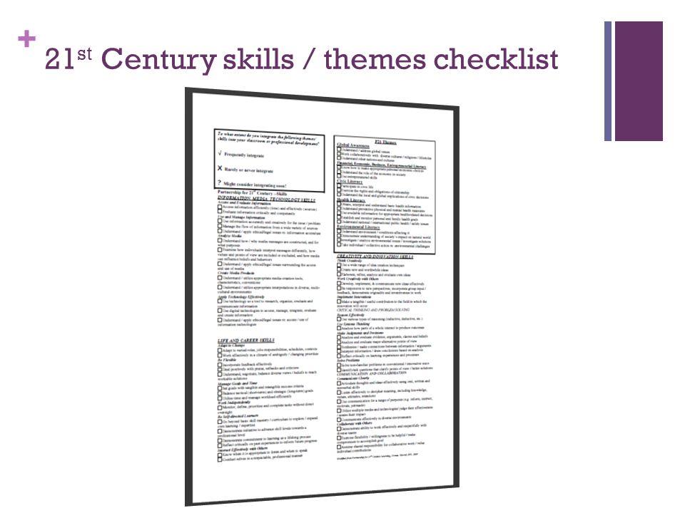 21st Century skills / themes checklist