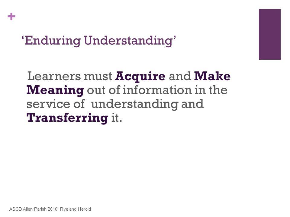 'Enduring Understanding'
