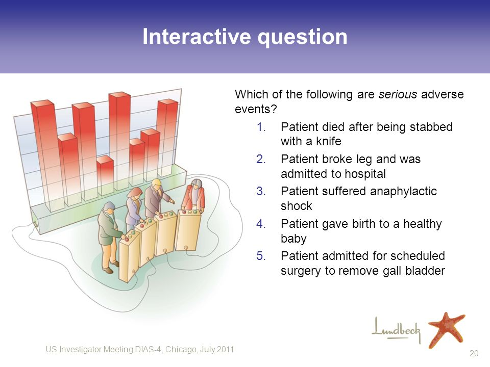 Interactive question Which of the following are serious adverse events Patient died after being stabbed with a knife.