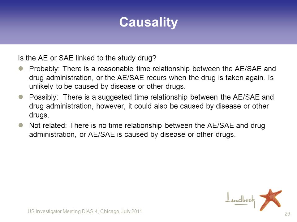 Causality Is the AE or SAE linked to the study drug