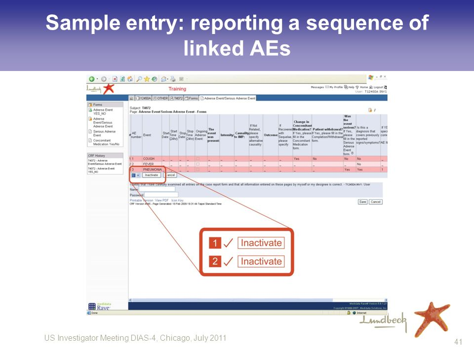 Sample entry: reporting a sequence of linked AEs