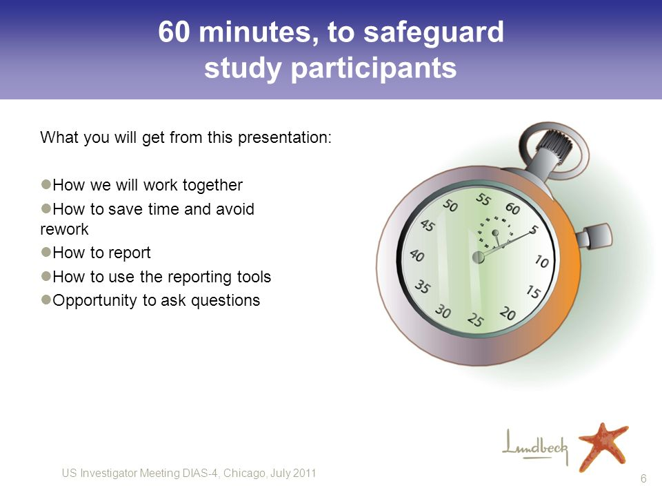 60 minutes, to safeguard study participants