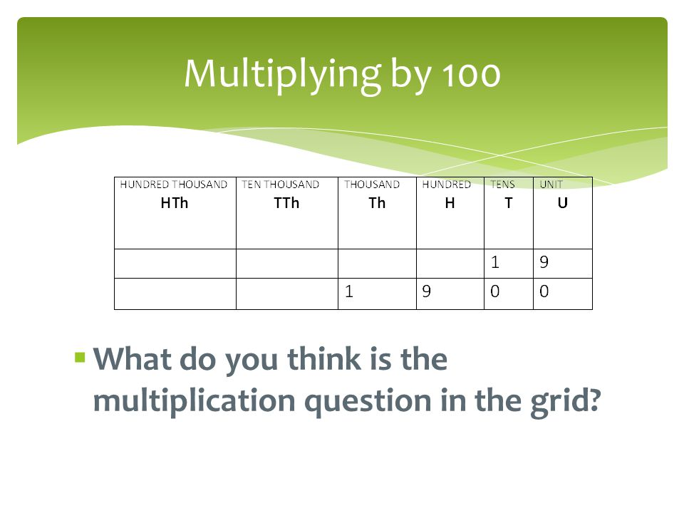 Multiplying by 100 What do you think is the multiplication question in the grid