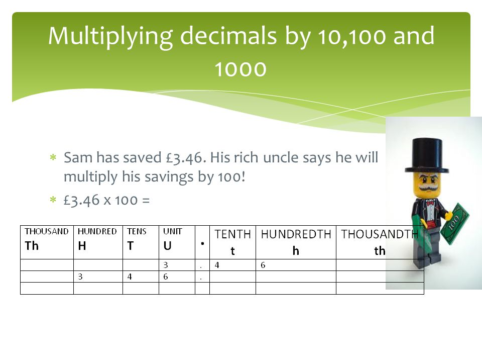 Multiplying decimals by 10,100 and 1000