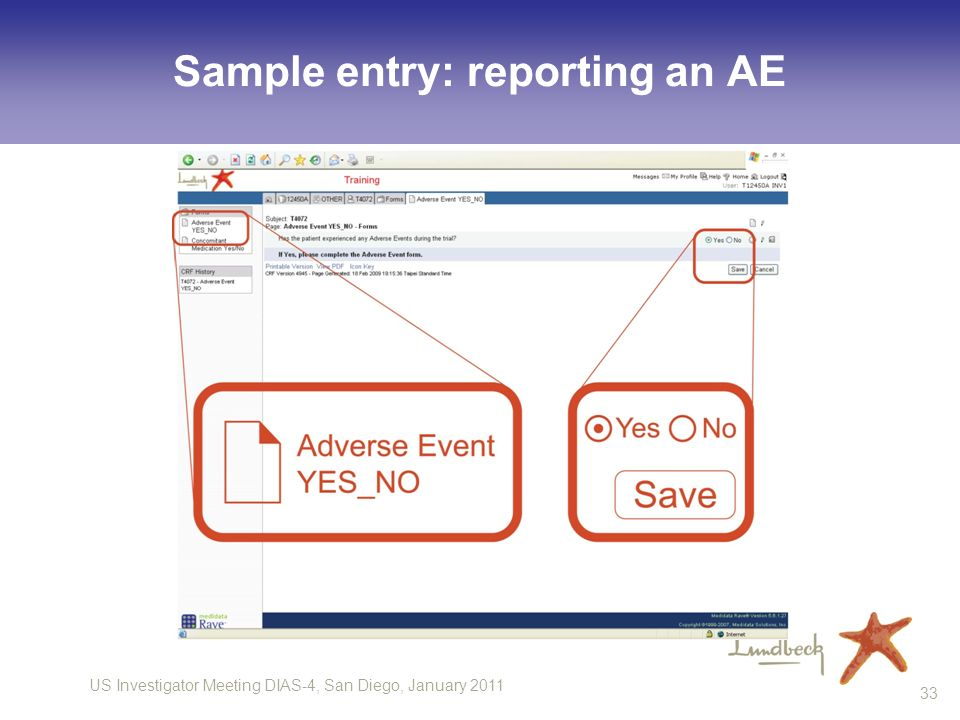 Sample entry: reporting an AE