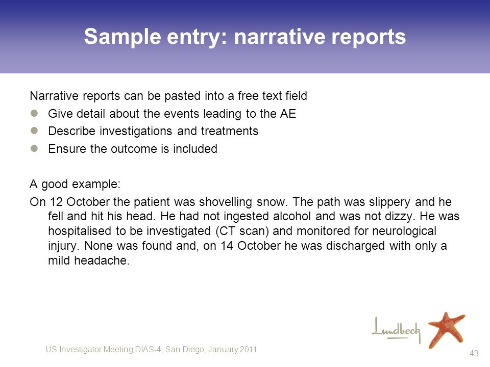 Sample entry: narrative reports