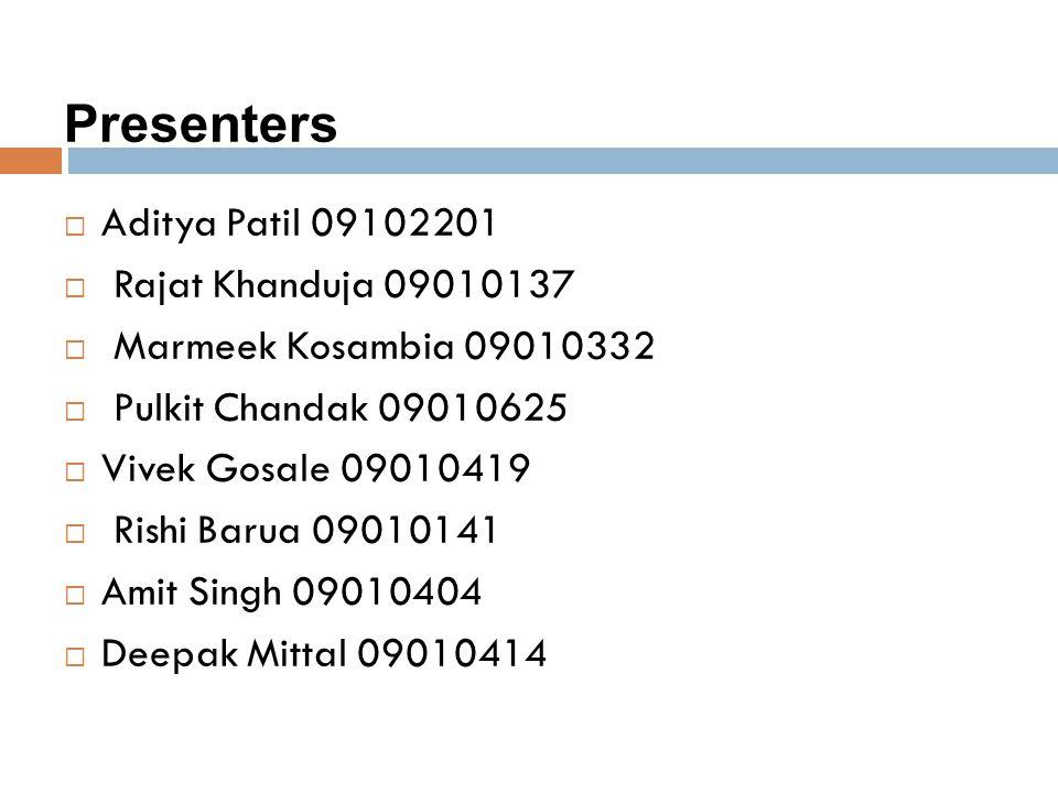 Presenters Aditya Patil 09102201 Rajat Khanduja 09010137