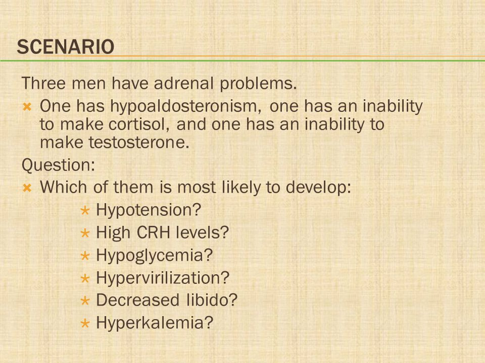 Scenario Three men have adrenal problems.