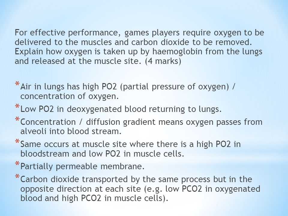 For effective performance, games players require oxygen to be delivered to the muscles and carbon dioxide to be removed. Explain how oxygen is taken up by haemoglobin from the lungs and released at the muscle site. (4 marks)