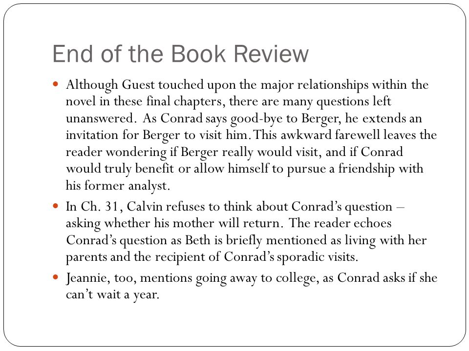 End of the Book Review