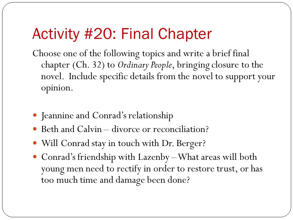 Activity #20: Final Chapter