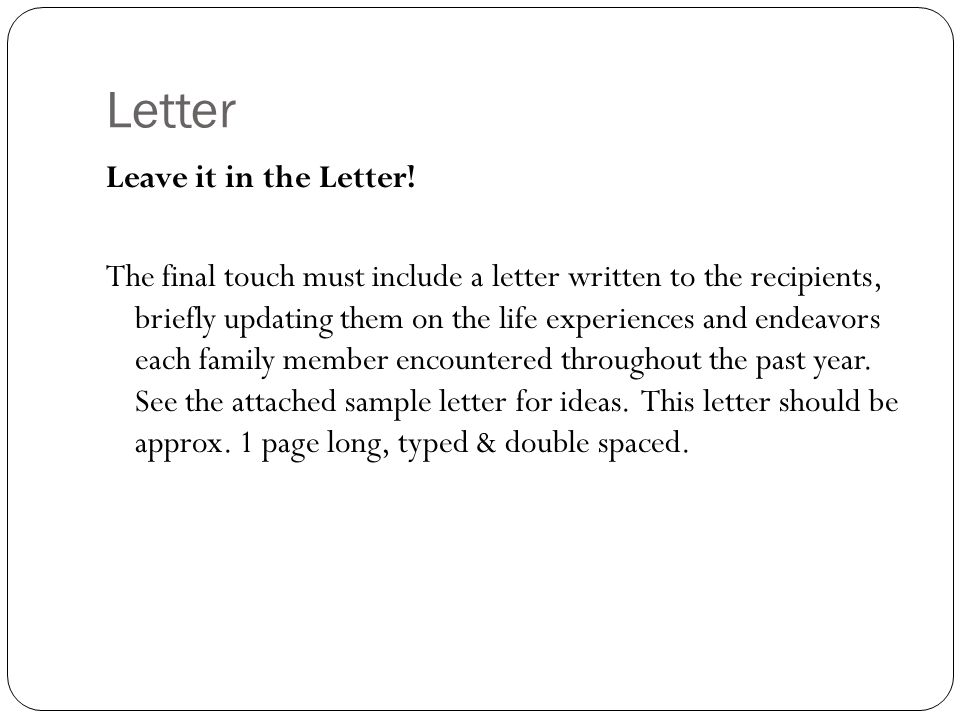 Letter Leave it in the Letter!