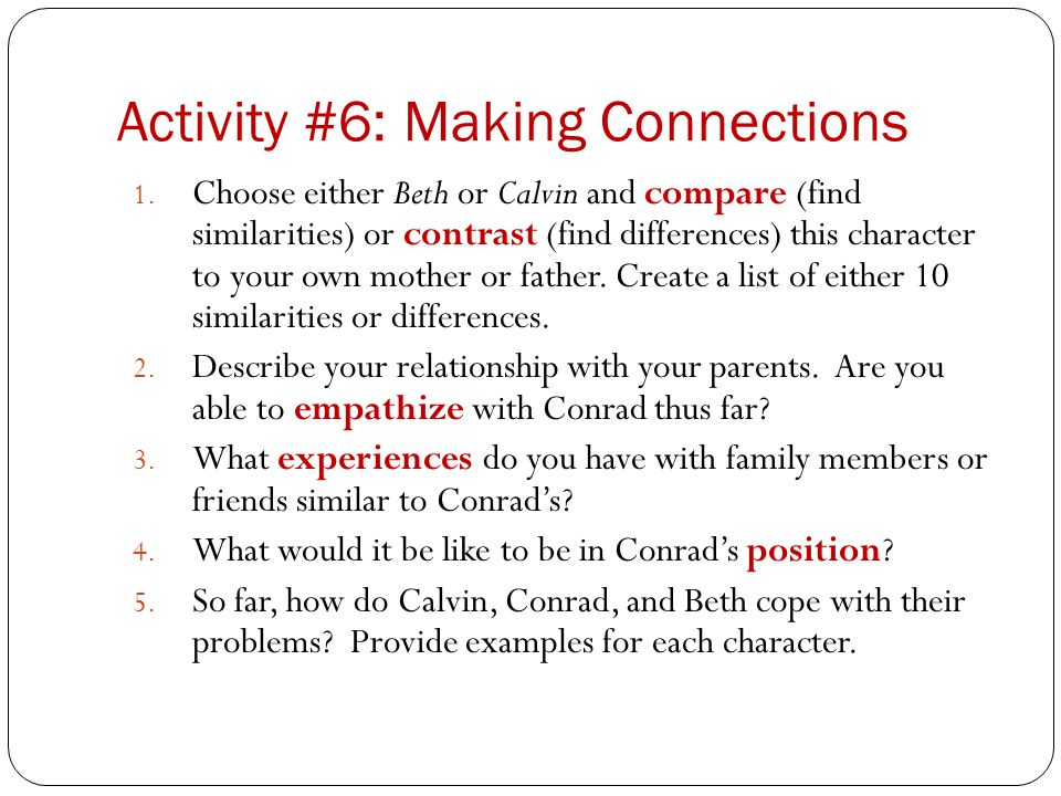 Activity #6: Making Connections