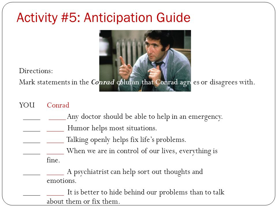 Activity #5: Anticipation Guide