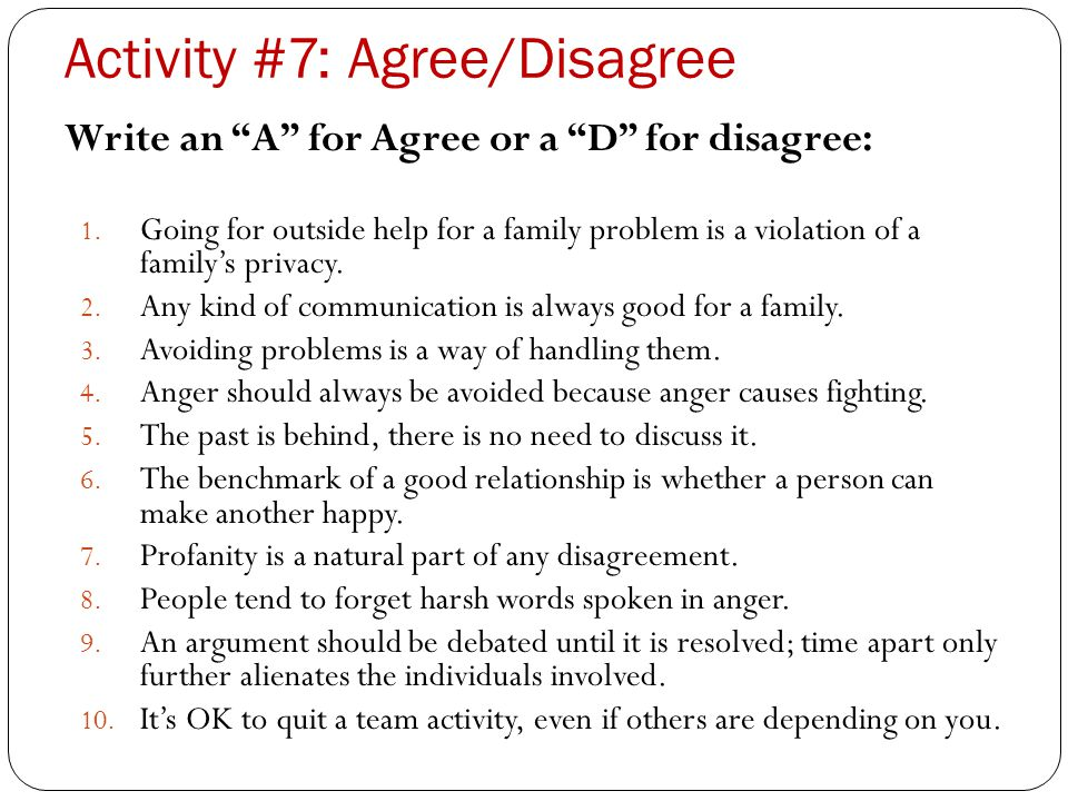 Activity #7: Agree/Disagree