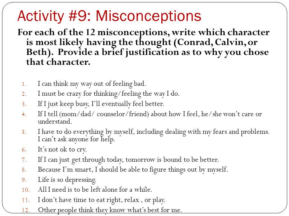 Activity #9: Misconceptions