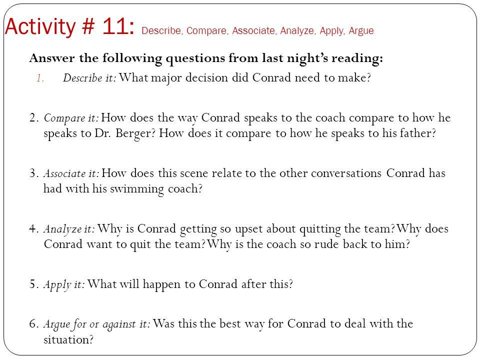Activity # 11: Describe, Compare, Associate, Analyze, Apply, Argue
