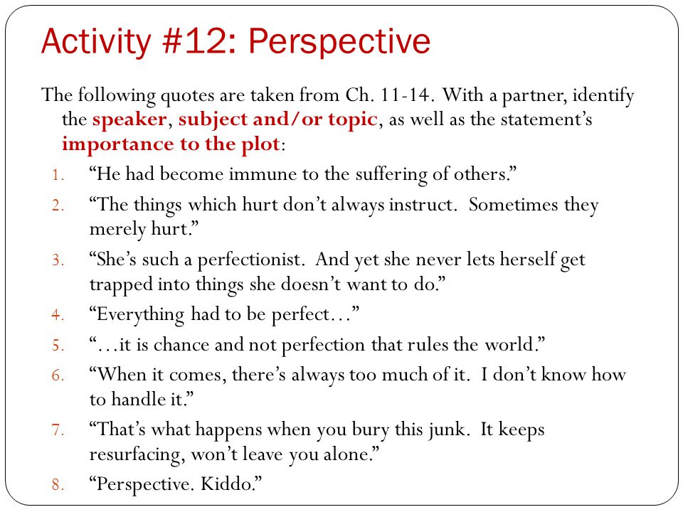 Activity #12: Perspective