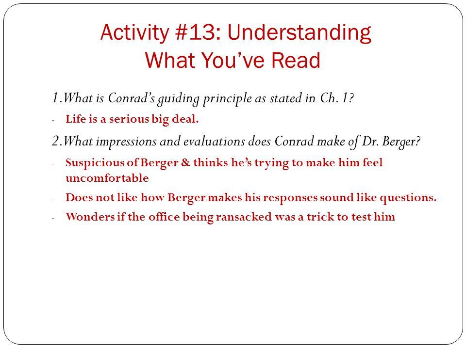 Activity #13: Understanding What You've Read