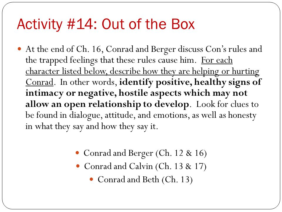 Activity #14: Out of the Box