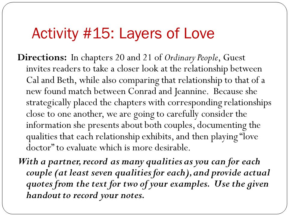 Activity #15: Layers of Love