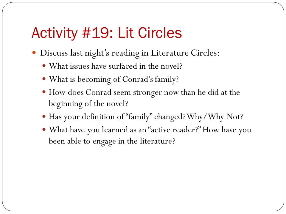 Activity #19: Lit Circles
