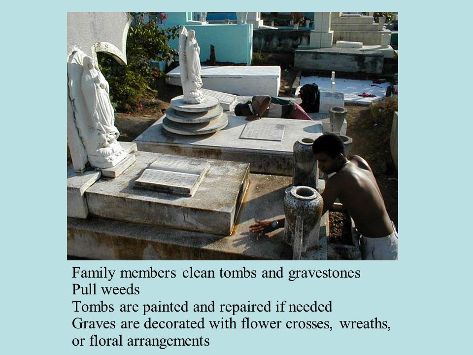 Family members clean tombs and gravestones