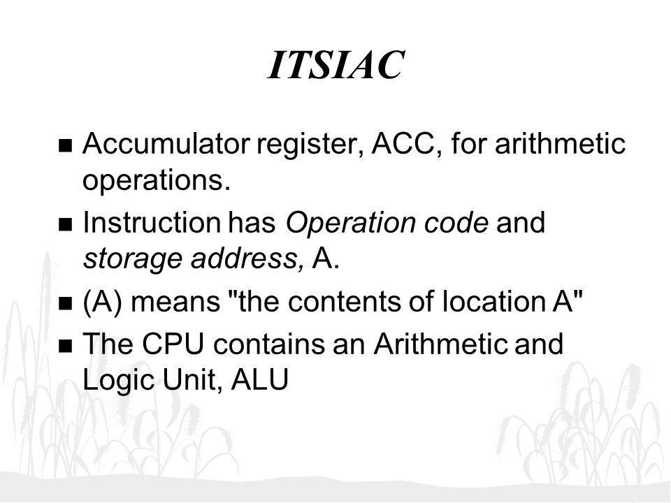 ITSIAC Accumulator register, ACC, for arithmetic operations.