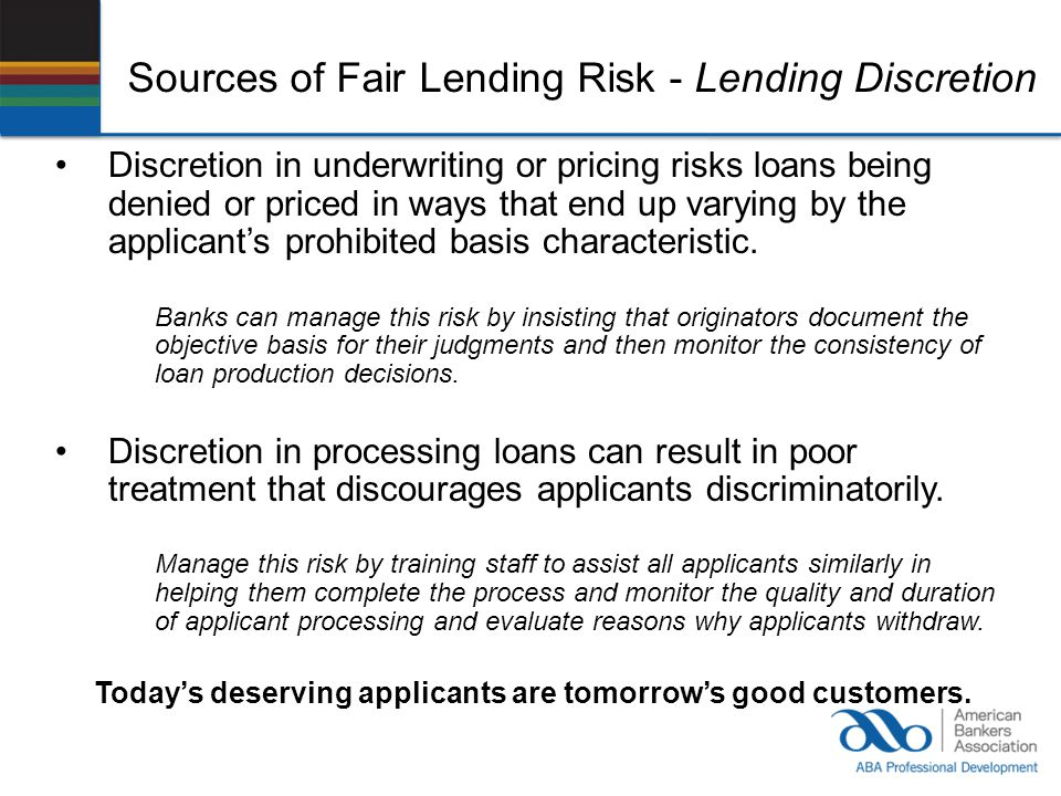 Sources of Fair Lending Risk - Lending Discretion