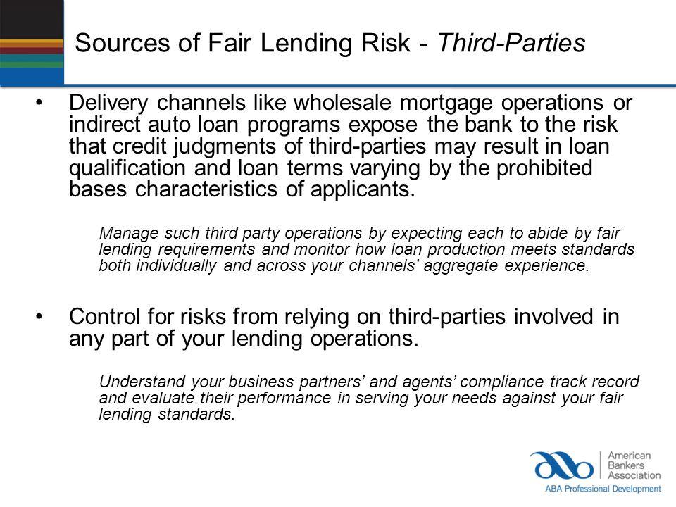 Sources of Fair Lending Risk - Third-Parties