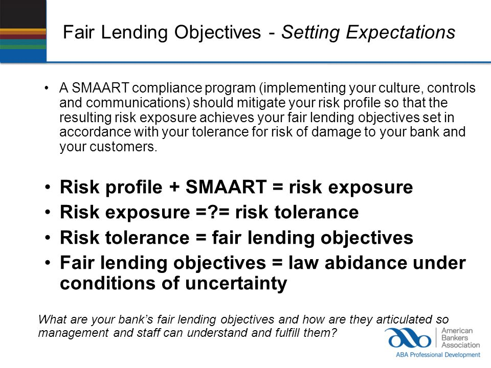 Fair Lending Objectives - Setting Expectations