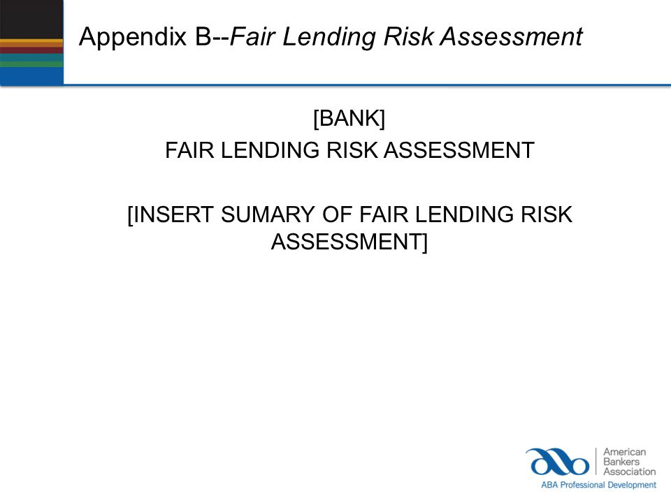 Appendix B--Fair Lending Risk Assessment
