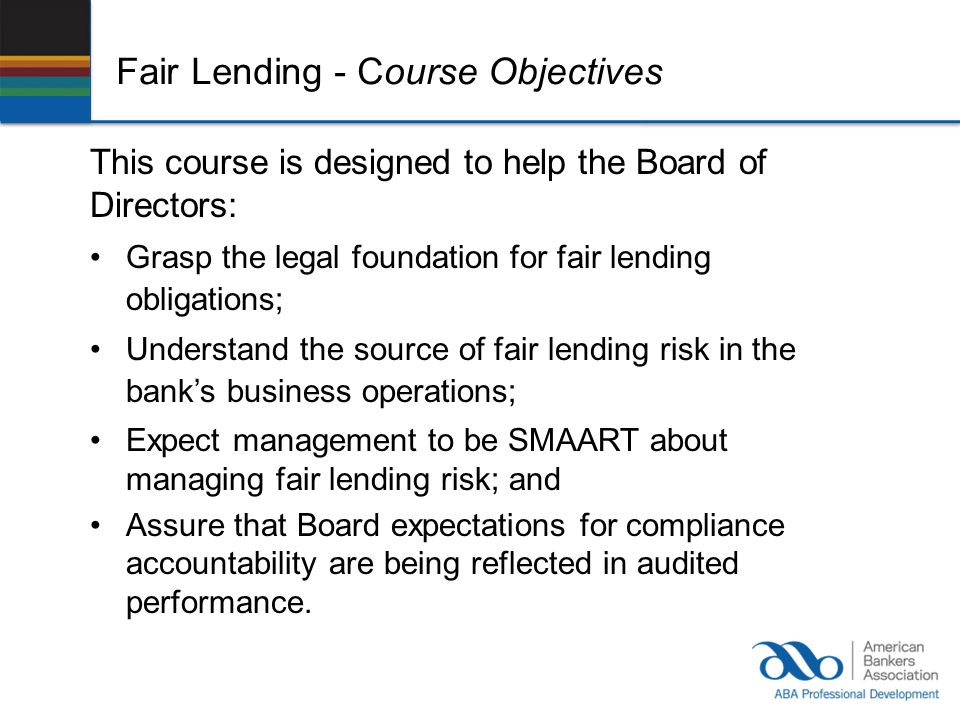 Fair Lending - Course Objectives
