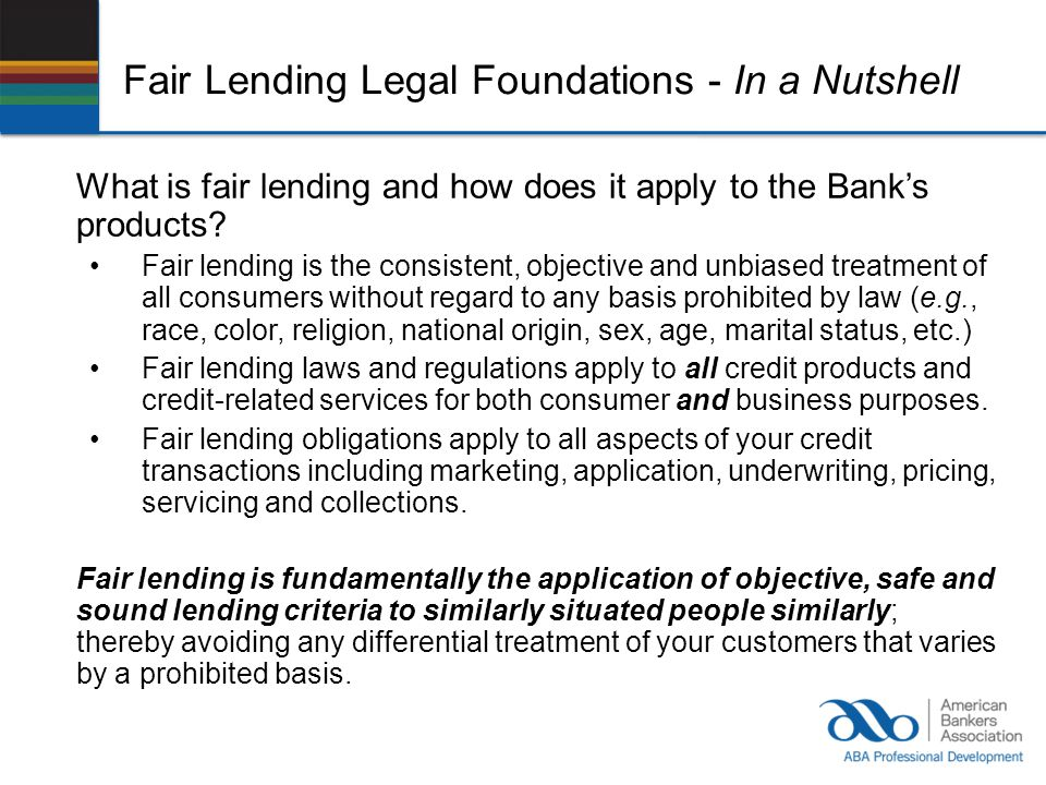 Fair Lending Legal Foundations - In a Nutshell