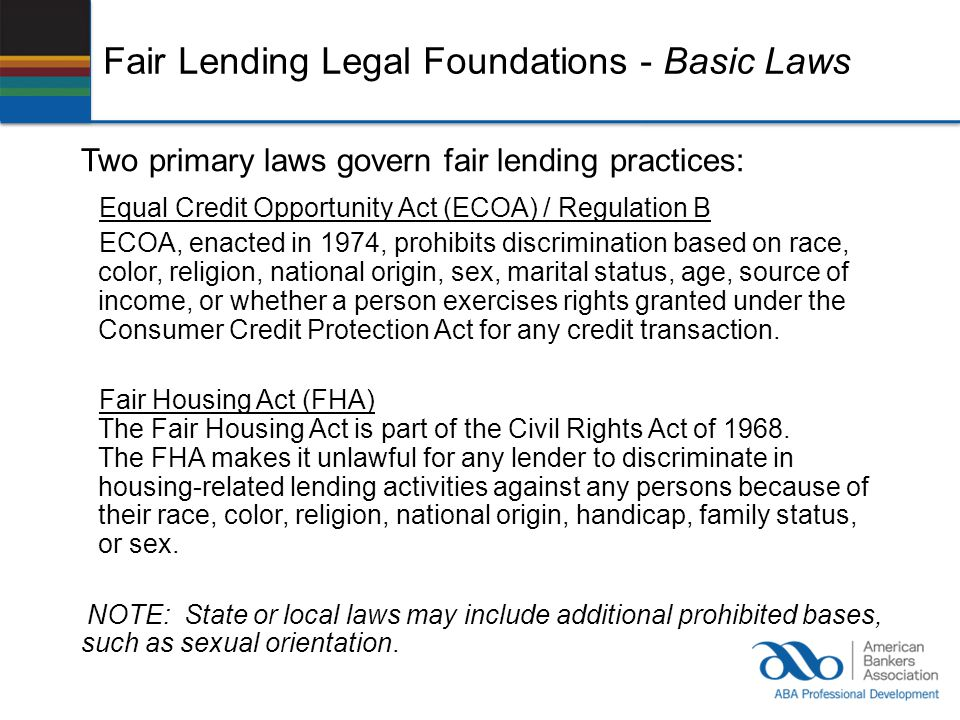 Fair Lending Legal Foundations - Basic Laws