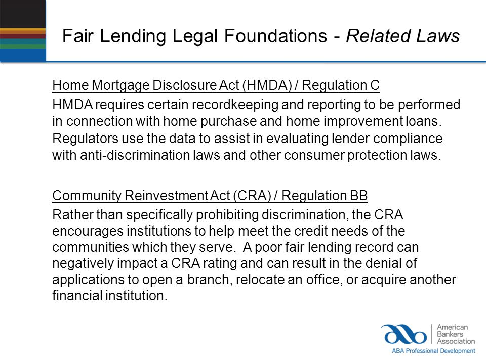 Fair Lending Legal Foundations - Related Laws